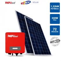 GERADOR SOLAR 1,32KWP INVERSOR REFUSOL 3,3KWP 4 PAINEIS 330W ODEX TELHA METALICA/TELHA TRAPEZOIDAL - 1
