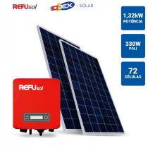 GERADOR SOLAR 1,32KWP INVERSOR REFUSOL 3,3KWP 4 PAINEIS 330W ODEX SEM ESTRUTURA - 1