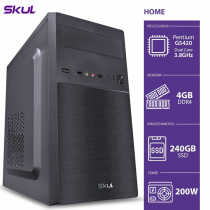 COMPUTADOR HOME H200 - PENTIUM DUAL CORE G5420 3.8GHZ MEM 4GB DDR4 SSD 240GB HDMI/VGA FONTE 200W - 1