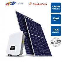 GERADOR SOLAR 1,44KWP INVERSOR ODEX 3KWP 4 PAINEIS 360W CANADIAN SOLAR TELHA FIBROCIMENTO METALICA - 1