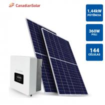 GERADOR SOLAR 1,44KWP INVERSOR CANADIAN SOLAR 3KWP 4 PAINEIS 360W CANADIAN SOLAR TELHA METALICA/TELHA TRAPEZOIDAL - 1
