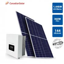 GERADOR SOLAR 1,44KWP INVERSOR CANADIAN SOLAR 3KWP 4 PAINEIS 360W CANADIAN SOLAR TELHA METALICA - 1