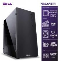 COMPUTADOR GAMER 5000 - I5 10400F 2.9GHZ 10ª GER. MEM. 8GB DDR4 SSD 120GB HD 1TB GTX1660 TI 6GB FONTE 600W WHITE - 1