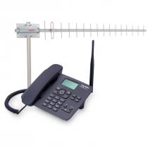 KIT TELEFONE CELULAR RURAL FIXO DE MESA QUADRIBAND CA42S + ANTENA 17DBI 900MHZ E CABO DE 15 METROS CA902 - 1