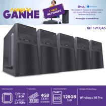 KIT 5PÇS - COMPUTADOR HOME H100 - CELERON DUAL CORE J1800 2.41GHZ 4GB DDR3 SODIMM SSD 120GB HDMI/VGA FONTE 200W WINDOWS 10 PRO - 1